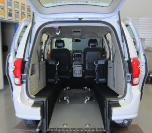 2016 rear entry Dodge Grand Caravan trunk open with ramp