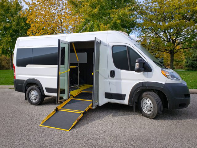 side entry ram promaster wheelchair van with accessible ramp