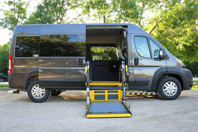 Grey Ram Promaster wheelchair accessible van with mobility wheelchair lift