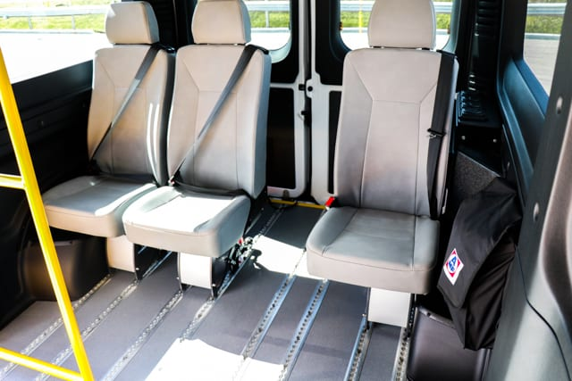 removeable seating with autofloor in accessible mobility van