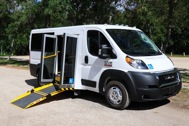 accessible promaster mobility van with ramp deployed