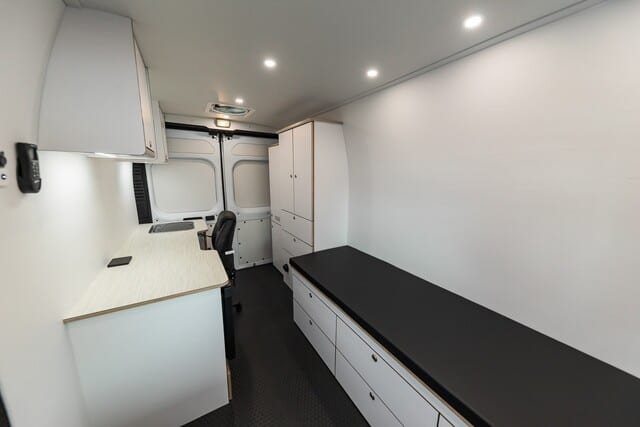 Mobile medical clinic in Ford Transit 148 Wheelbase, Single Rear Wheel, High Roof Model. Use for door to door health assessments and vaccinations