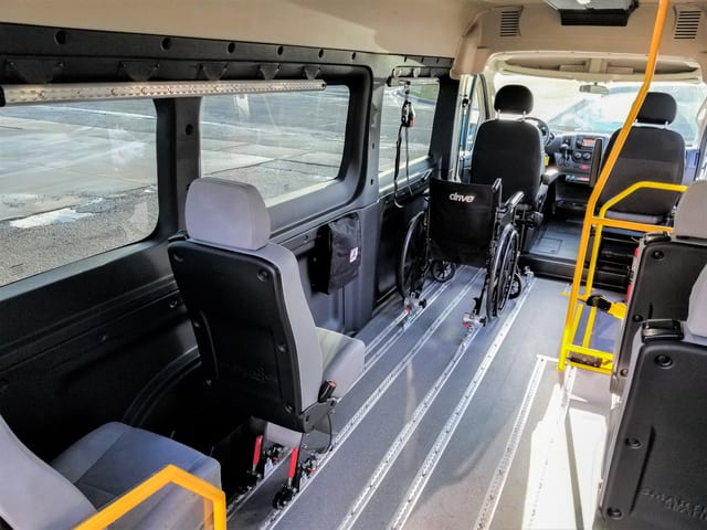 ram promaster wheelchair accessible van with side ramp access for wheelchairs and ambulatory passengers