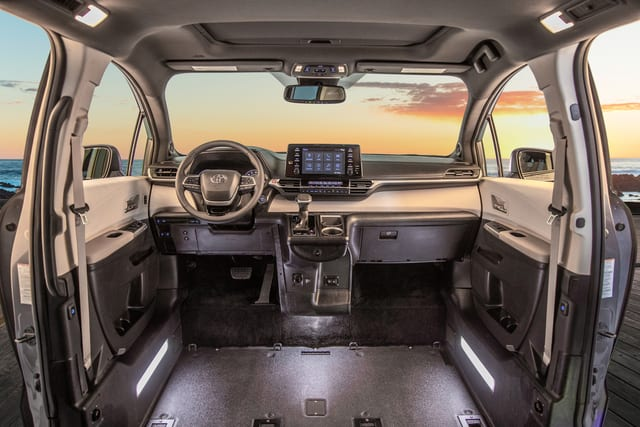 2021 toyota sienna hybrid all wheel drive wheelchair van interior with front seats removed