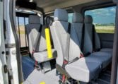 removeable AMF Bruns seats inside MoveMobility wheelchair accessible Ford Transit van