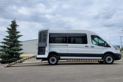 rear ramp ford transit mobility van converted movemobility