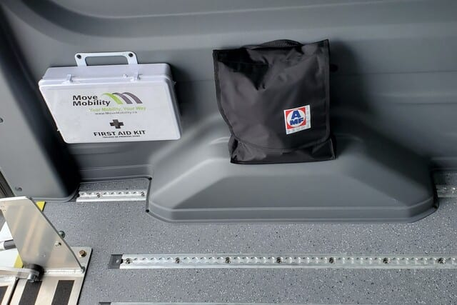 wheelchair restraints and d409 compliant kit inside ford transit wheelchair van mobility