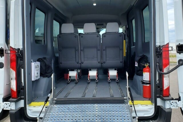 removeable seats in ford transit van with wheelchair ramp