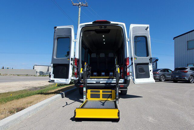 ford transit with doors open for wheelchair entry