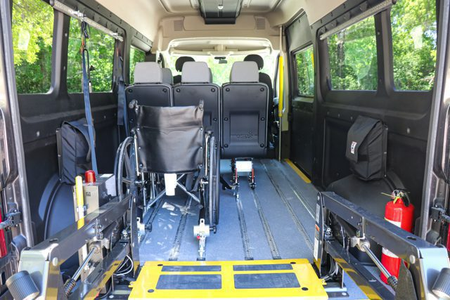 removeable seating and wheelchair positions inside ram promaster mobility van conversion by MoveMobility