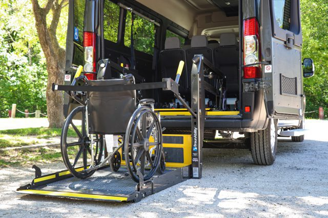 wheelchair secured on braunability century series wheelchair lift in movemobility accessible van