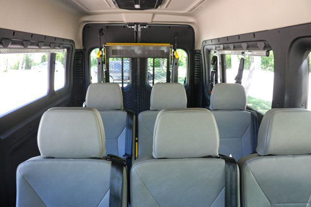 wheelchair van interior showing six removeable seats and braunability hydraulic wheelchair lift