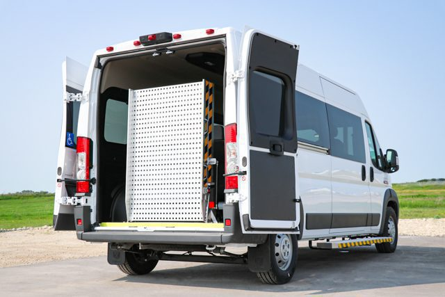 ram promaster accessible van with rear ramp