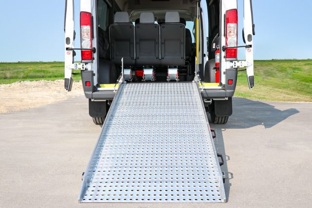 ram promaster with rear ramp for wheelchair and stretcher access