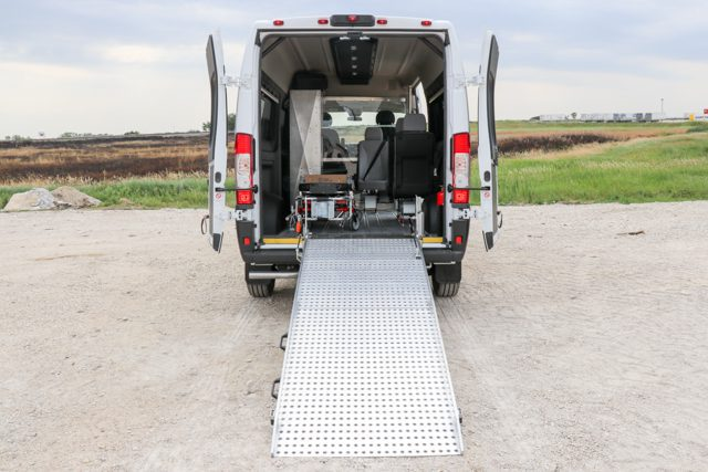 ram promaster medical van with ramp and medical equipment