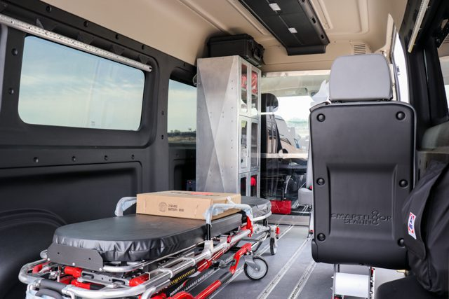 medical van layout with ferno stretcher and seats